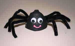 Anansi Spider craft made from an egg carton