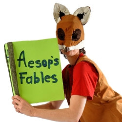 Fox reading Aesop Fables