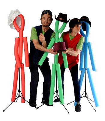 Performing with hat wearing stick figures