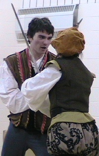 Zephyr Goza duals his mother in a Shakespeare production