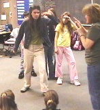 Kimberly gives some students some acting tips